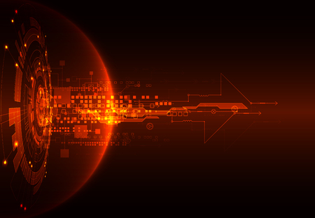 Rosso astratto tecnologia di comunicazione digitale sullo sfondo. illustrazione di vettore