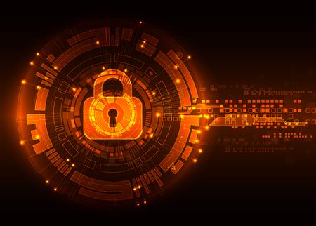 Concepto de protección de la tecnología digital y tecnológica. Proteger mecanismo, sistema de privacidad, ilustración vectorial