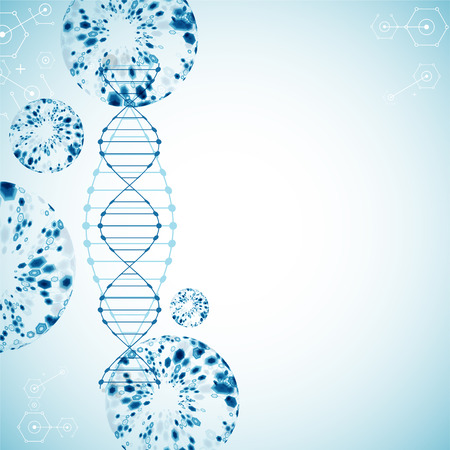 Science template, wallpaper or with a DNA molecules. illustration.
