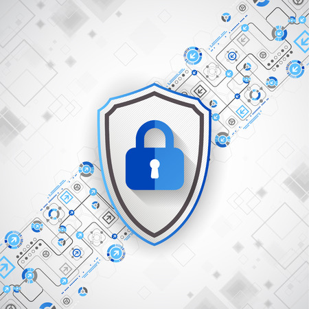 encryption: Protection concept of digital and technological. Protect mechanism, system privacy, vector illustration