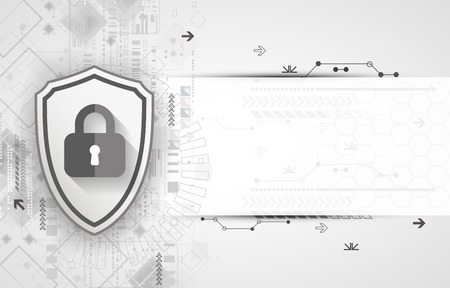 defence: Protection concept of digital and technological. Protect mechanism, system privacy, vector illustration