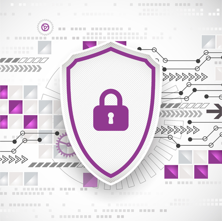 decryption: Protection concept of digital and technological. Protect mechanism, system privacy, vector illustration