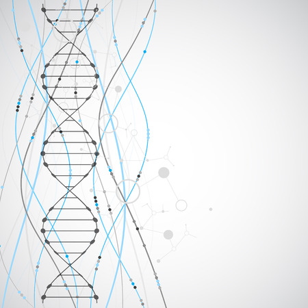 gene: Science template, wallpaper or banner with a DNA molecules. Vector illustration.
