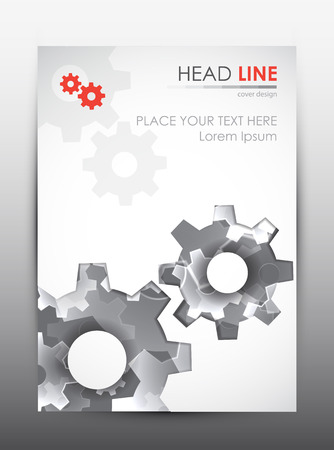 business gears: Brochure design template. Cover presentation background. Vector illustration.