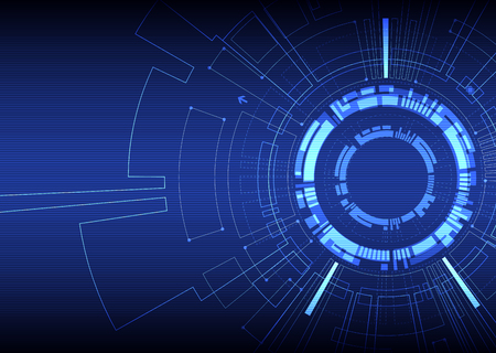 Abstract  blue colored technological background with various technological elements. Structure pattern technology backdrop. Vector