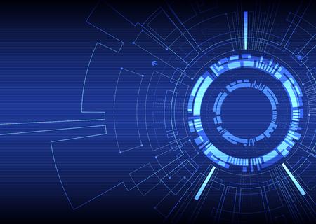 Abstract blue background tecnologico di colore con i vari elementi tecnologici. modello Struttura tecnologia sfondo. Vettore