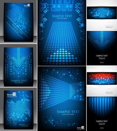 vector backgrounds: Set of Abstract pixel backgrounds. Vector