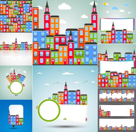 color design: Set of Color city backgrounds. Vector