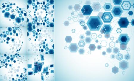 通信: 明るい技術六角形の背景を抽象化します。接続構造体。ベクトル
