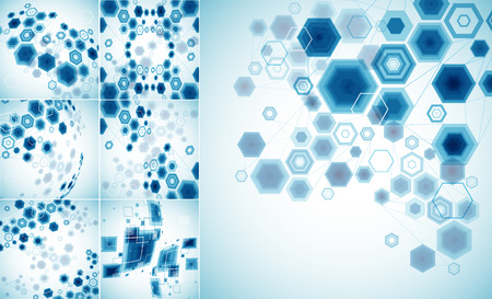 communication: Abstract bright technology hexagonal background. Connection structure. Vector