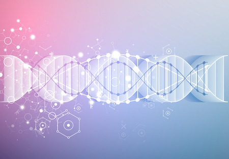 Science template, wallpaper or banner with a 3D DNA molecules. Vector illustration.