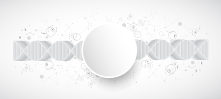 dna graph: Science template, wallpaper or banner with a 3D DNA molecules. Vector illustration.