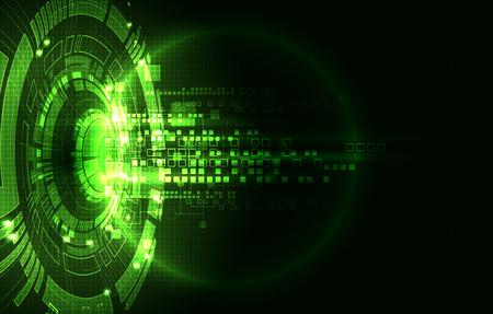 hologram: Abstract green digital communication technology background. Vector illustration