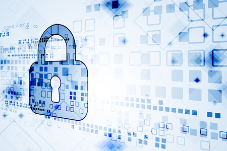 Beschermingsconcept van digitaal en technologisch. Systeemprivacy. Vector illustratie