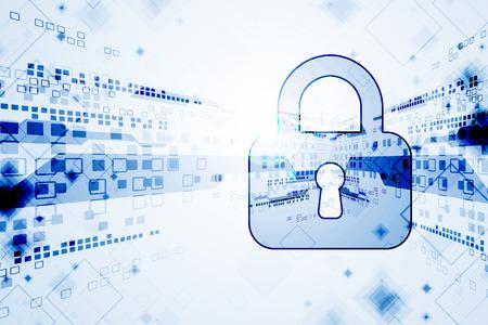 防衛: デジタルと技術の保護の概念。システムのプライバシー。ベクトル図