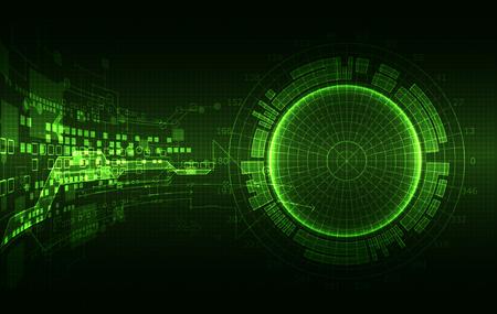 Fondo abstracto de color verde con diversos elementos tecnológicos. Estructura patrón tecnología telón de fondo. Vector