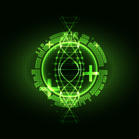 Green science template, DNA molecules background. Vector illustration.