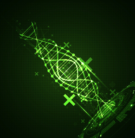 analyses: Green science template, DNA molecules background. Vector illustration.