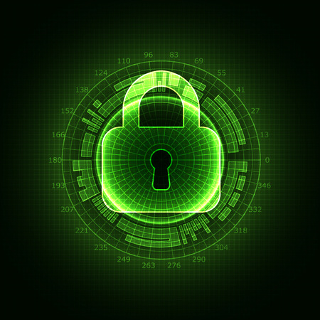 shielding: Protection concept of digital and technological. Protect mechanism, system privacy, vector illustration