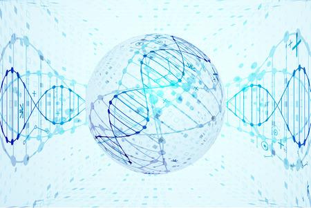 plantilla Science, moléculas de ADN de fondo. Ilustración del vector.