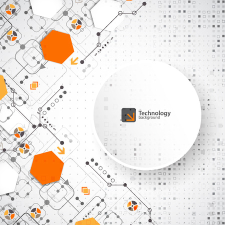 digital illustration: Vector illustration, hi-tech digital technology and engineering, digital technology concept.