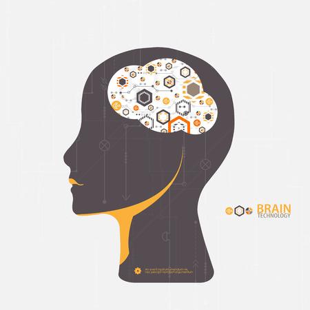 mente humana: Creativa del concepto del fondo del cerebro. Concepto de la inteligencia artificial. la ciencia ilustración vectorial