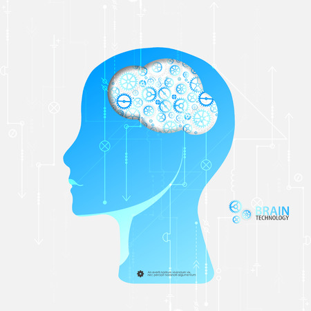 intellect: Creative brain concept background. Artificial Intelligence concept. Vector science illustration