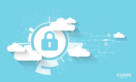 웹 클라우드 기술. 보호 개념입니다. 시스템의 개인 정보 보호, 벡터 일러스트 레이 션