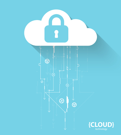 stealing data: Web cloud technology. Protection concept. System privacy, vector illustration Illustration