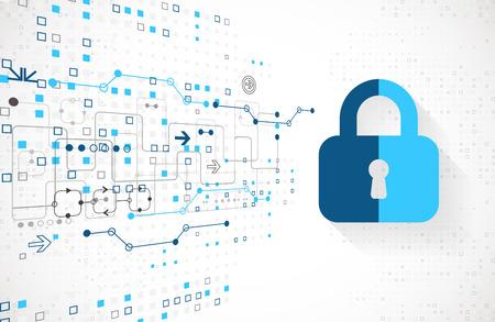 concept de protection. Protéger le mécanisme, la confidentialité du système. Vector illustration Vecteurs