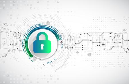 Pojęcie ochrony. Chronić mechanizm, prywatność systemu. ilustracji wektorowych