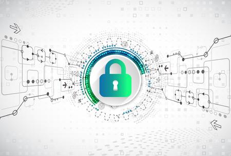 Concetto di protezione Proteggi il meccanismo, la privacy del sistema. Illustrazione vettoriale Vettoriali