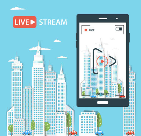 live on air: Video streaming on phone.Vector illustration Illustration