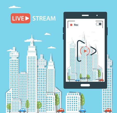 live entertainment: Video streaming on phone.Vector illustration Illustration