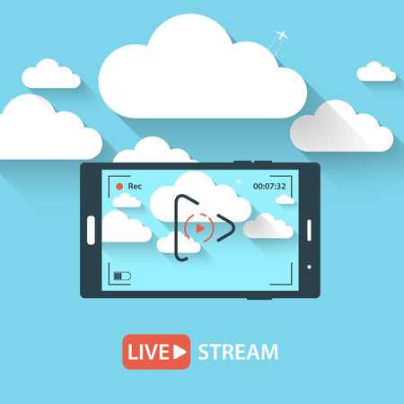 streaming: Video streaming on phone.Vector illustration Illustration