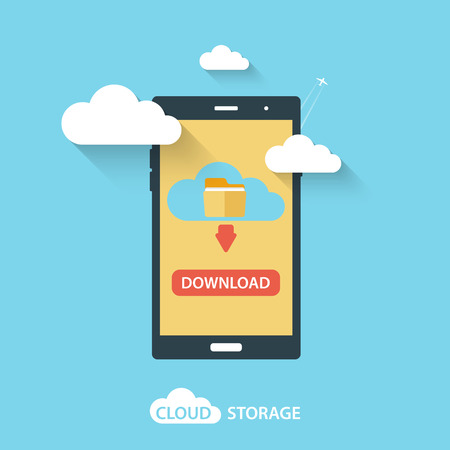 hub computer: Cloud computing storage and applications on a mobile phone. Vector Illustration.
