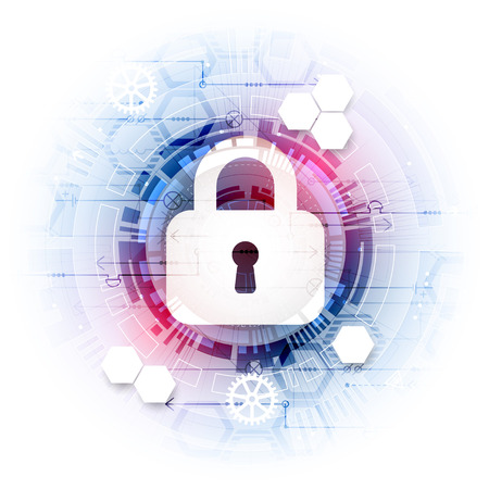 Secure digital space. Virtual confidential, structure point connection, programming protection, padlock scheme system, vector illustration Banco de Imagens - 68116852