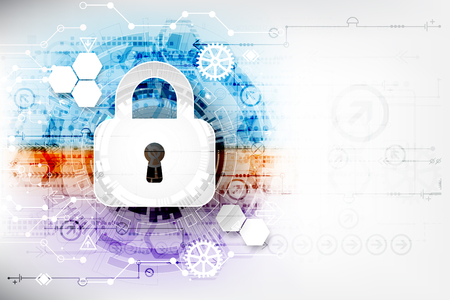 decoding: Secure digital space. Virtual confidential, structure point connection, programming protection, padlock scheme system, vector illustration
