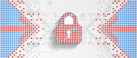 Protection concept of digital and technological. Protect mechanism, system privacy, vector illustration