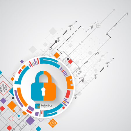 decryption: Protection concept. Protect mechanism, system privacy. Vector illustration