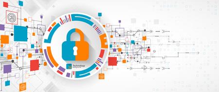 Concept de protection Protéger le mécanisme, la confidentialité du système. Illustration vectorielle Vecteurs