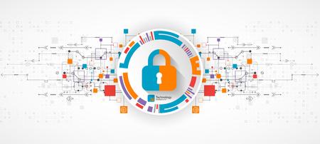 concept de protection. Protéger le mécanisme, la confidentialité du système. Vector illustration