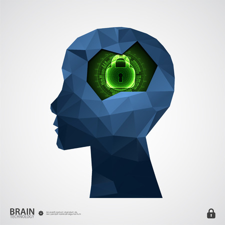 intellectual: The concept of intellectual property protection. Vector illustration