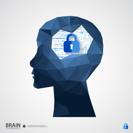 The concept of intellectual property protection. Vector illustration