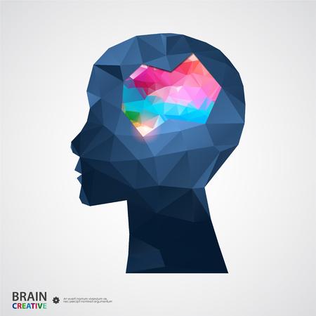 reason: Creative concept of the human head. Vector illustration