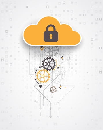 remote server: Abstract security cloud technology background. Illustration Vector Illustration