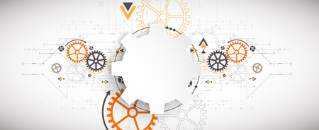 Illustrazione vettoriale, tecnologia digitale Hi-tech e tema di ingegneria Vettoriali