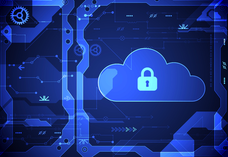technology security: Abstract security cloud technology background. Illustration Vector Illustration