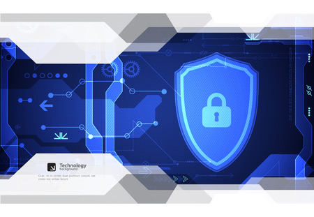 Protection concept of digital and technological background. Protect mechanism, system privacy, vector illustration Illustration