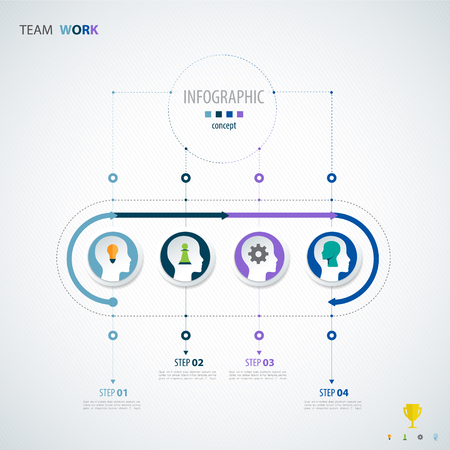 Infographic teamwork. Business concept. Vector